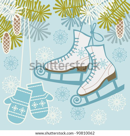 Winter blue background. Illustration with retro figure ice skates, mittens, branches of fir tree and snowflakes. For vector version see image id 90603310
