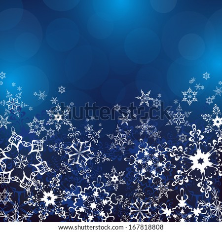 Winter blue background with white ornate snowflakes. New Year and Christmas celebratory card with place for text. Beautiful winter wallpaper. Raster version - stock photo