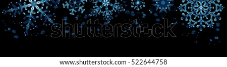 Winter border with blue snowflakes on black background . Hand-painted horizontal illustration for Happy New Year and Merry Christmas border