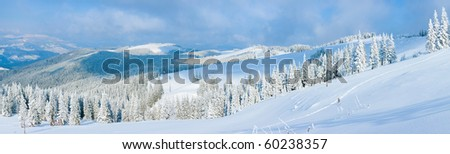 Winter calm mountain panorama landscape with sheds and mount ridge behind (Carpathian Mountains, Ukraine). Eight shots stitch image. - stock photo