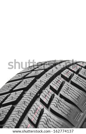 Winter Car tires close-up wheel profile structure on white background
