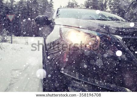 Winter car wheel studs, the concept of winter car ride - stock photo
