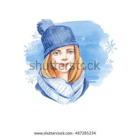 Winter card. Girl in blue hat. Watercolor illustration