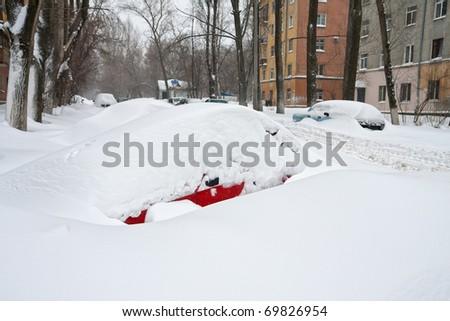 Winter. Cars under snow - stock photo