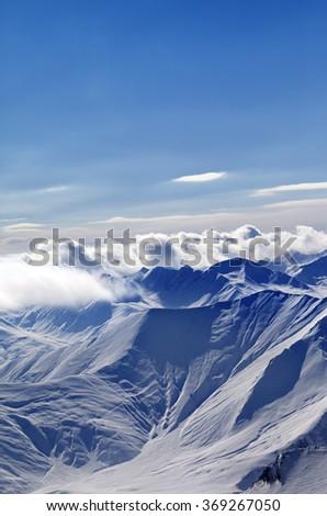 Winter Caucasus Mountains in evening, Georgia, region Gudauri. - stock photo