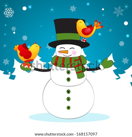 Winter Christmas and New Year Holiday Background with funny cartoon snowman and birds