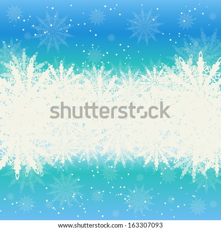 Winter Christmas background, snow and snowflakes raster image