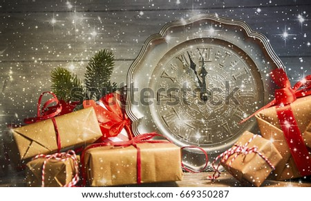 Winter Christmas background with clock