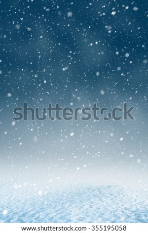 Winter christmas background with shiny snow and blizzard - stock photo