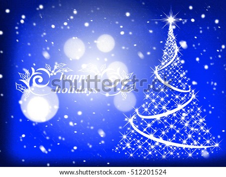 winter Christmas  blue background