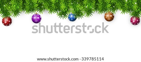 winter christmas bright banner with tree and holiday balls