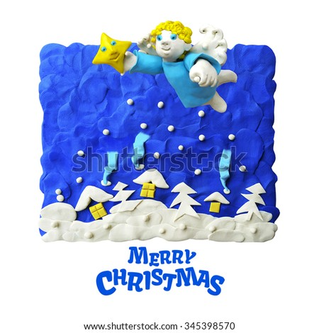 Winter christmas card with an angel, a Christmas star and Christmas tree and houses under the snow on a dark blue background. Christmas night. Plasticine. Clay. - stock photo