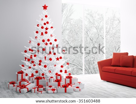 Winter christmas interior with white fir tree 3d rendering - stock photo