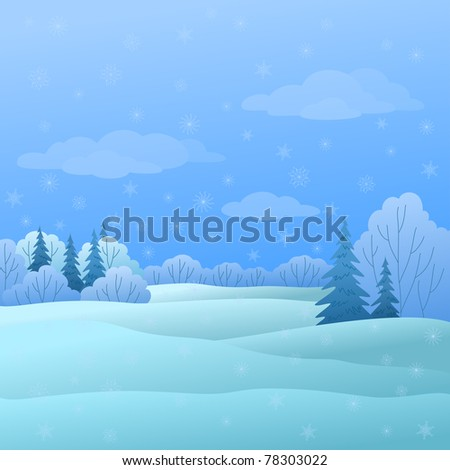 winter christmas landscape: forest with coniferous and deciduous trees and snow