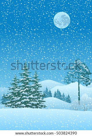 Winter Christmas Landscape with Coniferous Trees, Mountain, Snowflakes and Moon