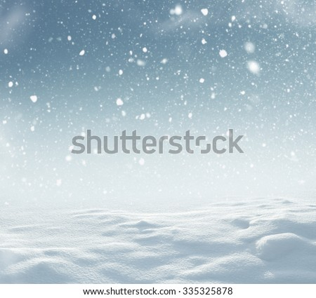Winter christmas landscape with falling snow - stock photo