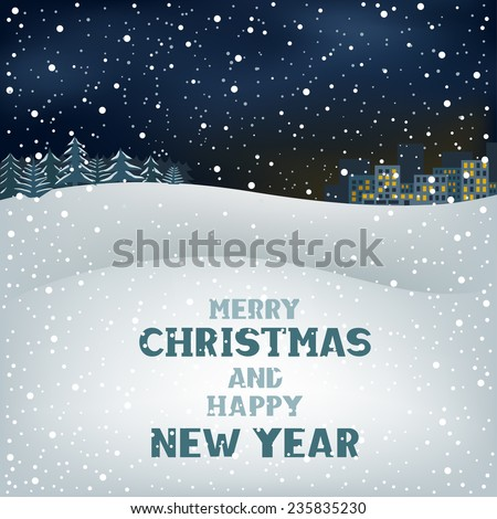 Winter Christmas night background, snow, forest and the city on the horizon - stock photo