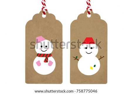 Winter Christmas Paper Craft Tags Mrsnowman Cheerful Stock Photo