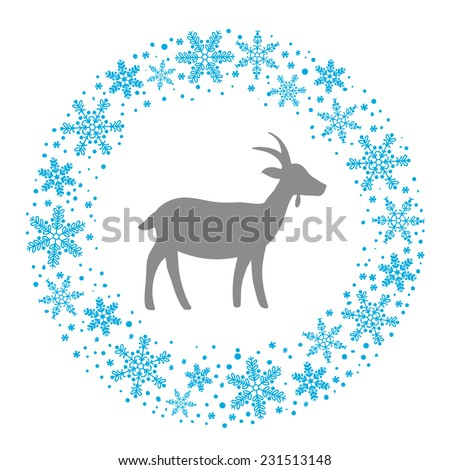 Winter Christmas Round Wreath with Snowflakes and Goat. Blue Grey and White Color  Illustration