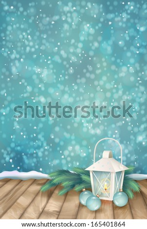 Winter Christmas Scene Background. Xmas landscape with fir tree branches, lantern, baubles, snowflakes, textured wooden floor on abstract bokeh backdrop - stock photo