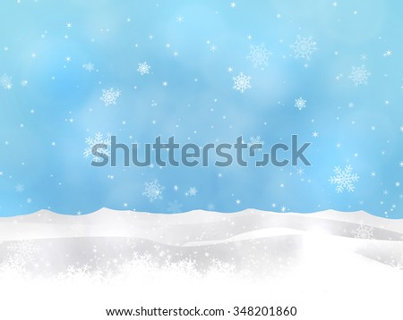 winter christmas snow hills blue background with blurry lights