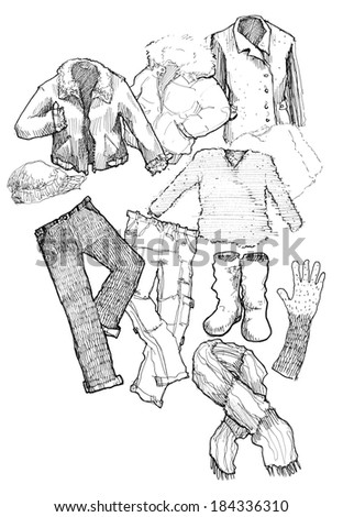 winter clothes black and white hand illustration - stock photo