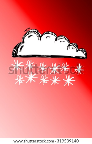 winter, cloud with snowflakes - stock photo