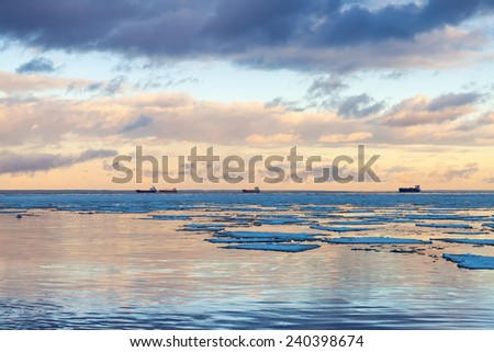 Winter coastal landscape with big ice fragments, and cargo ships on the horizon. Gulf of Finland, Russia - stock photo