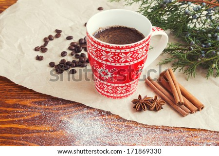 Winter coffee in red cup - Christmas still life - stock photo