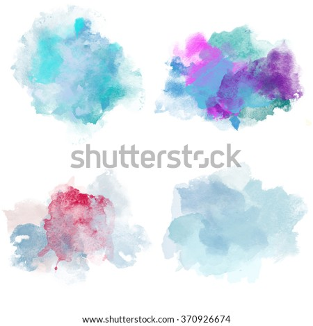 Winter Cold Watercolor Blobs. Set of Watercolor Splashes for design. Beautiful Paper Watercolor Backdrops with colorful blobs and place for text. Original design for posters and banners. - stock photo