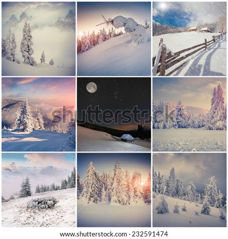Winter collage with 9 square Christmas landscapes. Carpathian region, Ukraine, Europe. - stock photo