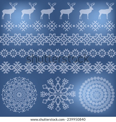 Winter colorful holiday set on beige grunge background. Deer and snowflake, nordic round holiday decoration patterns. Could be used for web, cards, decorations, etc. Raster version - stock photo