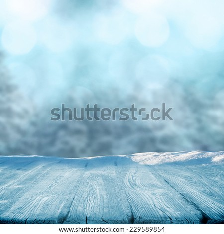Winter concept with place for object  - stock photo