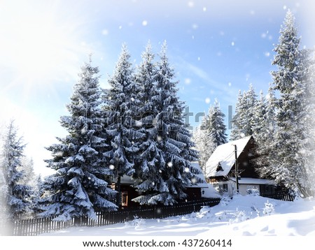 Winter cottage, winter background - stock photo