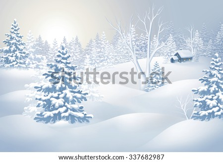 winter countryside view, Christmas tree in snowy forest, rural landscape panorama