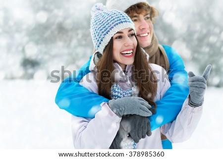 Winter couple - stock photo