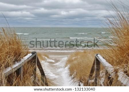 Winter Day at the Beach. Port Crescent State Park. Port Austin, Michigan. - stock photo
