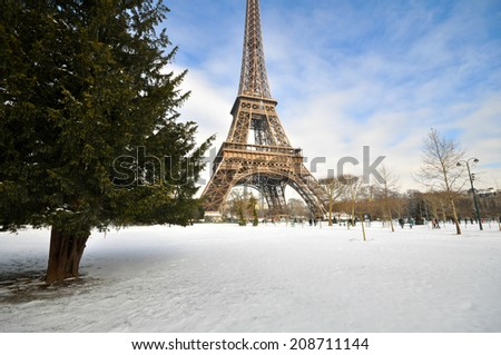 Winter day in Paris - stock photo