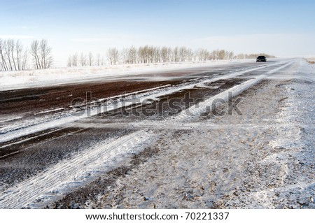 Winter Driving - stock photo