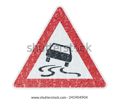 Winter Driving - Ice Covered Warning Sign - Caution Sleekness - stock photo