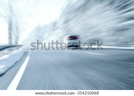 Winter Driving - Icy Road - stock photo