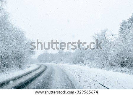 Winter Driving - Winter Road - stock photo