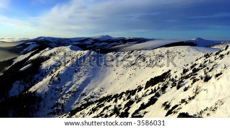 Winter early evening in Giant mountains (Czech Republic) - stock photo