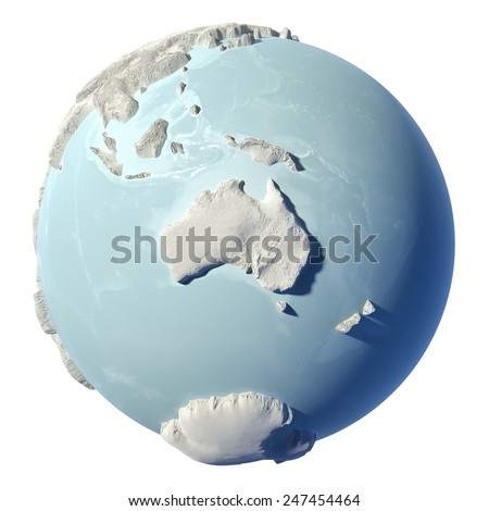 Winter earth isolated on white background. 3d render. Continent Australia. Elements of this image furnished by NASA - stock photo
