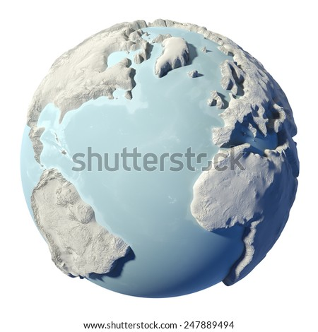 Winter earth isolated on white background. 3d render. Elements of this image furnished by NASA - stock photo