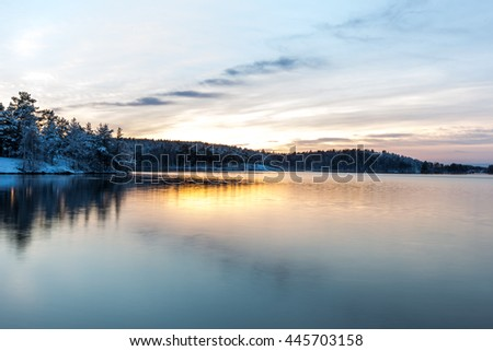 Winter evening on the lake