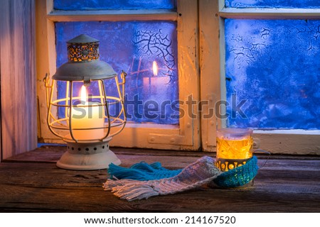 Winter evening only with hot tea - stock photo