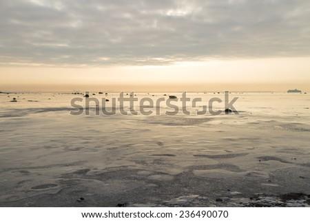 Winter evening seascape - stock photo