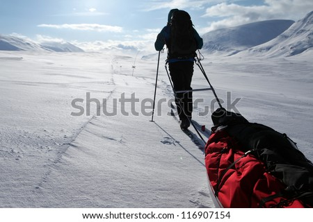 Winter Expedition on the Kungsleden - stock photo