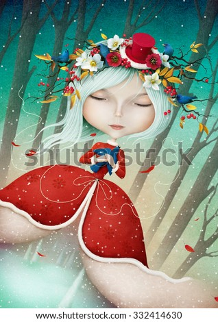 Winter Fantasy illustration or greeting card with a beautiful Snow Maiden  - stock photo